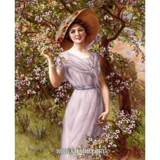 طرح تابلوفرش دختر شکوفه ها