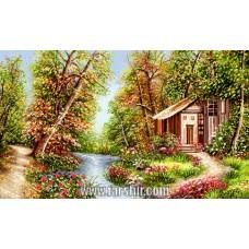 طرح تابلوفرش منظره ای از باغ