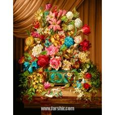 ایران فرش تابلوفرش شکوه گلها