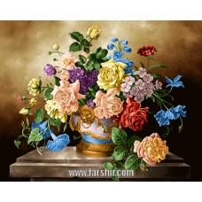 ایران فرش تابلوفرش گلدان طلايي