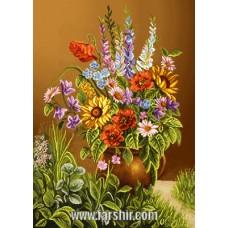 ایران فرش تابلوفرش گلدان در چمن زار