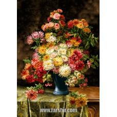 ایران فرش تابلوفرش گل و گلدان شکیل