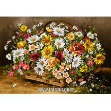 ایران فرش تابلوفرش حصیری پر گل