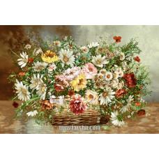 ایران فرش تابلوفرش سبد گلهای وحشی