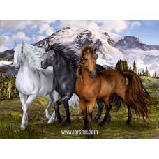 ایران فرش تابلوفرش اسب های وحشی