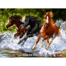 ایران فرش تابلوفرش فرار اسب های وحشی