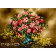 طرح تابلوفرش گلدان گل رز