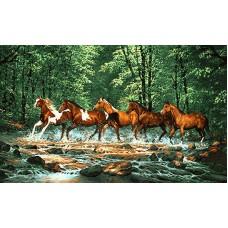 ایران فرش تابلوفرش گذر اسب ها