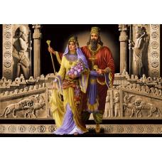طرح تابلوفرش کوروش و ملکه عرضی
