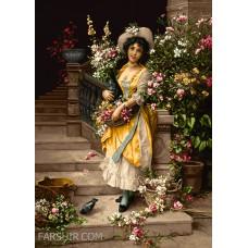 طرح تابلوفرش چیدن گل در کاخ