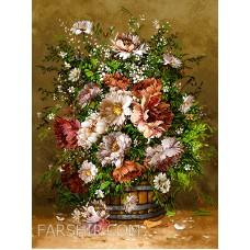 ایران فرش تابلوفرش سبد گلهای جنگل