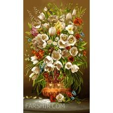 ایران فرش تابلوفرش گل لاله خطیبی