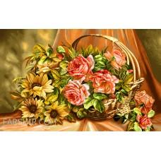 ایران فرش تابلوفرش سبد گلی از باغ