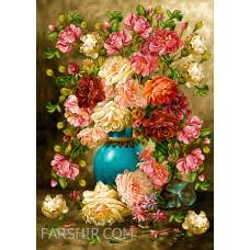ایران فرش تابلوفرش گل و گلدان رویایی