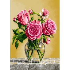 طرح تابلوفرش گلدان شیشه ای رز