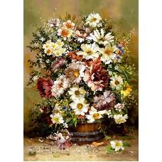 طرح تابلوفرش گل و گلدان چوبی