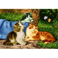 ایران فرش تابلوفرش گربه های بازیگوش