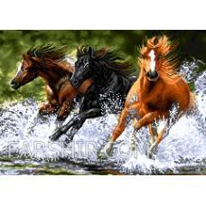 طرح تابلوفرش فرار اسبهای وحشی کوچک
