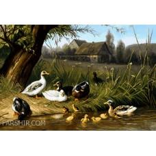 ایران فرش تابلوفرش اردک ها